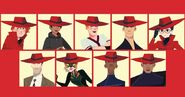 All characters wear red hat