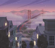 Elaine Lee 109 EXT. SF DOWNVIEW TO BRIDGE PAN UP - DUSK revised 3
