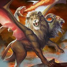 Monster demon chimera of fire