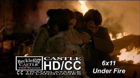 """Castle 6x11 End Scene """"Under Fire"""" Ryan & Esposito Rescued Caskett Hug Them Ryan a New Dad HD CC"""