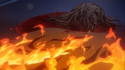 Sypha burns the remains