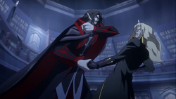 Dracula and alucard exchange blows