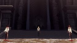 Sumi and Taka's impaled body in front of the castle.
