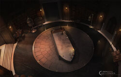 Castlevania Season 2 Background of Hector's Lab 1 by Justin Kauffman, Danny Araya, and Bo Li
