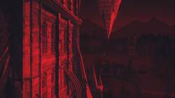 Castle's exterior during a blood moon