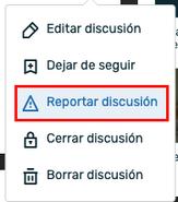 Discussions - Opció reportar