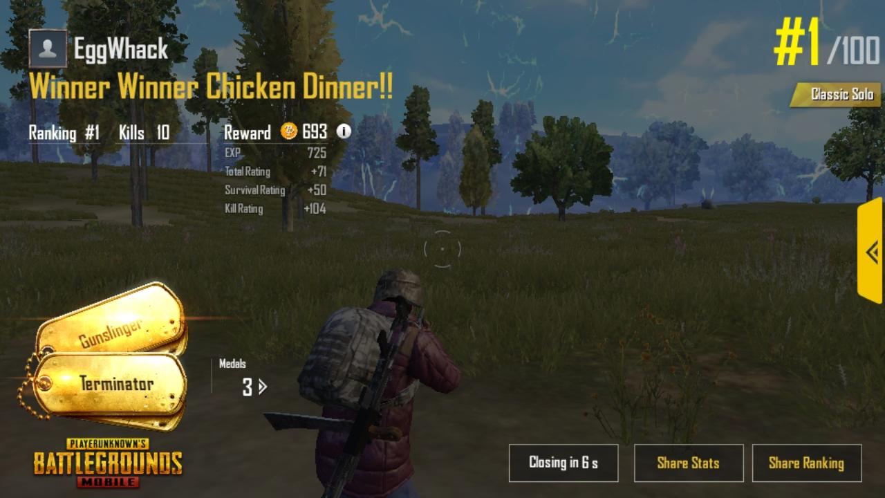 Mobile Solo Win (10 kills)