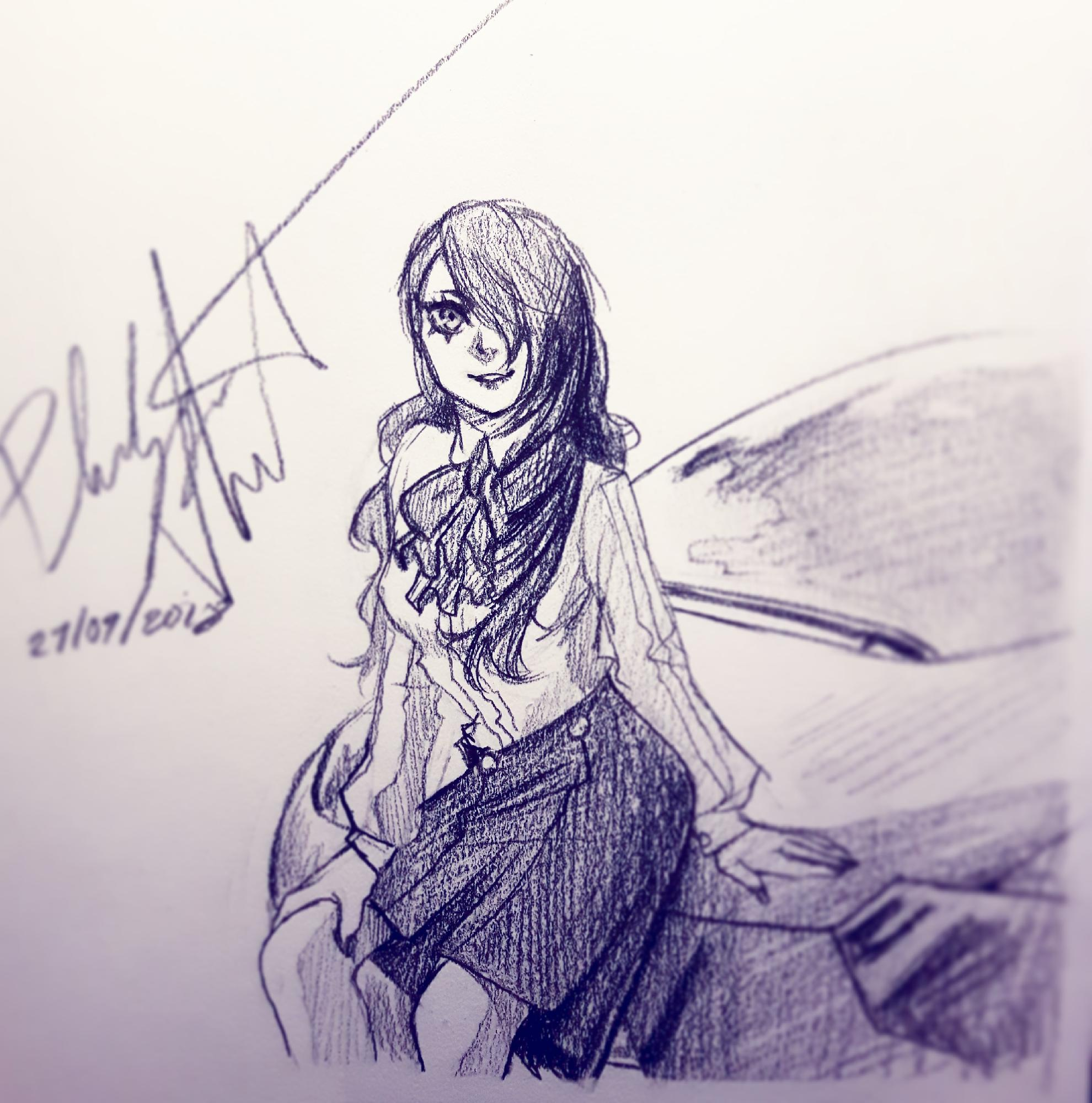 Sketch of Mitsuru from P3