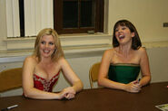 Lisa Kelly and Méav at the table