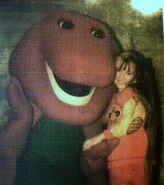 Chloë Agnew & Barney the dinosaur