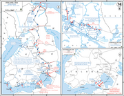 Three diagrams present major assaults by the Red Army.