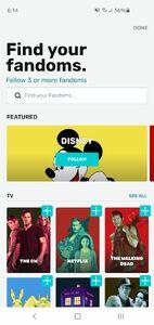 Fandom App Select Fandoms