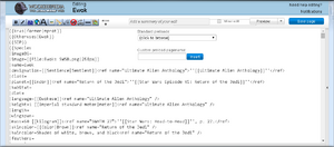 Example of Wookieepedia interface obscured by javascript customization