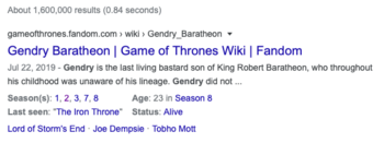 A search engine results page entry containing character information from Fandom