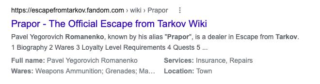 SERP entry for Prapor