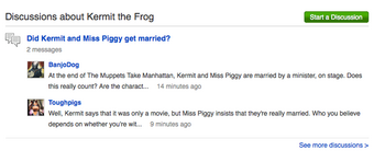 Muppet Wiki にて、Kermit についてのディスカッションがKermitの記事ページの下部にリンクされている。