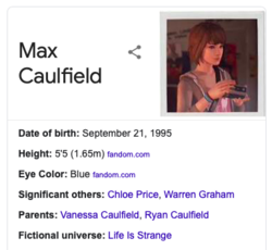 Knowledge Graph entry for Max Caulfield