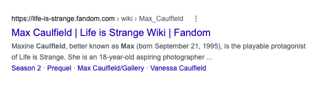 SERP entry for Max Caulfield