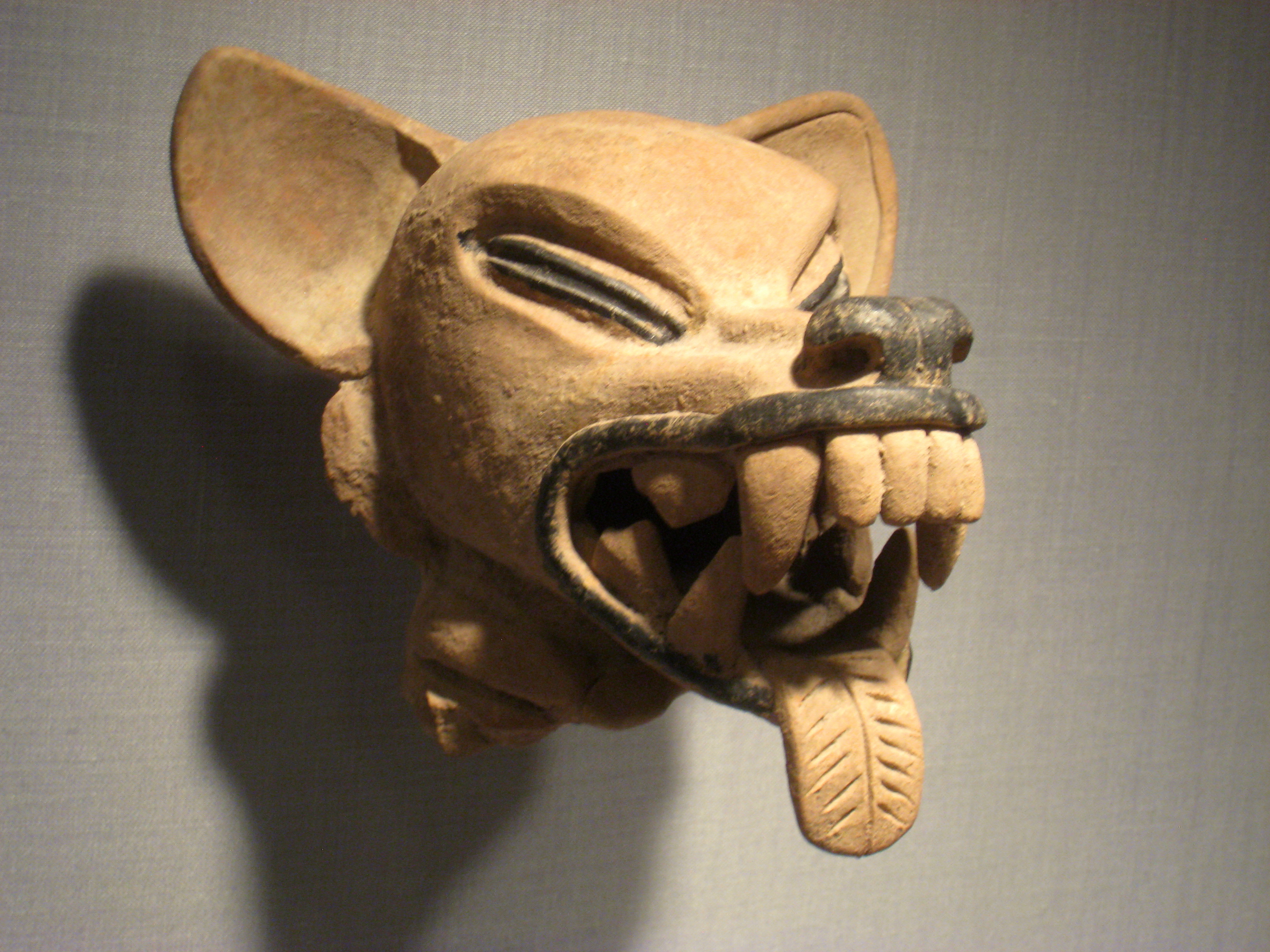 Animal Head, Mexico, State of Veracruz, Remojada culture, Classic Period, 300-600 AD, ceramic, Pre-Columbian collection, Worcester Art Museum - IMG 7656.JPG