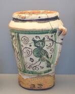 Mortar with birds, Teruel, Spain, late 17th century AD, ceramic - Museo Nacional de Artes Decorativas - Madrid, Spain - DSC08218