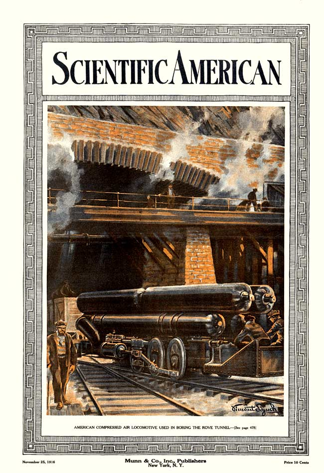American compressed air locomotive used in boring the Rove Tunnel Scientific American 1916-11-25.jpg