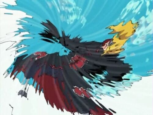 Kakashi attempting to kamui Deidara in order to send him to another dimension.
