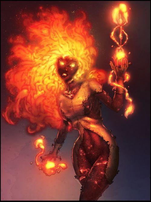 Amara from Marvel manipulating and generating magma.