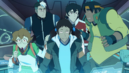 Lance, Pidge, Shiro, Keith and Hunk in Blue Lion