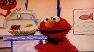 Elmo and Dorothy with a Checkers decoration in her fish bowl