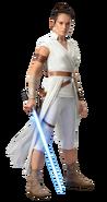 Rey holding the Skywalker Lightsaber