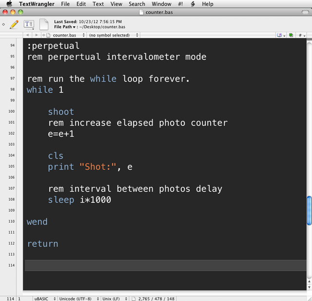 This is an example of uBasic syntax highlighting in TextWrangler.