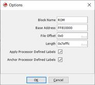 Ghidra-import-options
