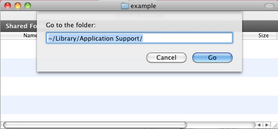 """Use the go to folder menu item to navigate to the """"Applications Support"""" folder."""