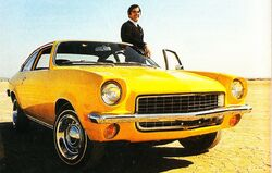 Vega coupe and John DeLorean, Motor Trend, 1970
