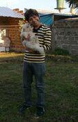 Yashaii Moran and dog