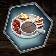 Chocolate dessert fondue strawberry