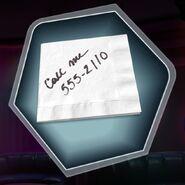 Phone number on napkin
