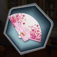 Floral silk fan pink