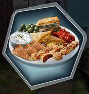 Hummus olive pepper sandwich kabob food platter
