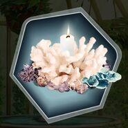 Seaside wedding theme coral arrangement candle