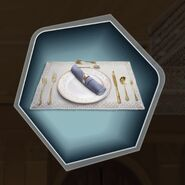 Trh place setting plate silver utensils napkin cloth