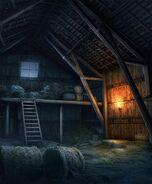 Historical Barn with Hayloft Night