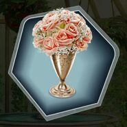 Gold vase pink flowers