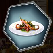 Gourmet seafood octopus dinner entree plate
