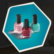 Pink red teal nail polish make up