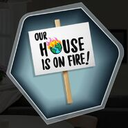 Rt house on fire protest sign