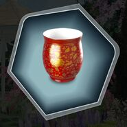 Red gold chinese tea cup