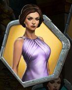 Kenna in a lavender silk gown