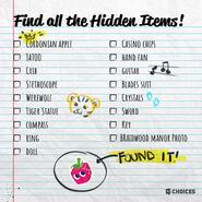 Choices twitter hidden object list