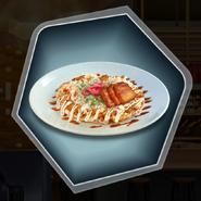 Pork Belly Okonomiyaki pasta tomato sliced